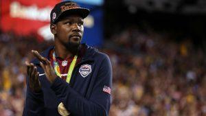 Teammates jokingly tell KD to hang up gold medal