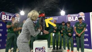 T20 Blast final: 'Ouch' – Notts captain Dan Christian gets hit in the face by trophy