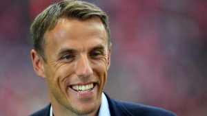 Phil Neville and an England fan clash over the quality of the Three Lions' performance.