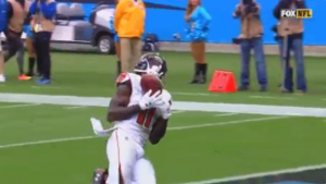 Luke Kuechly says a hex on Julio Jones must have caused his dropped TD